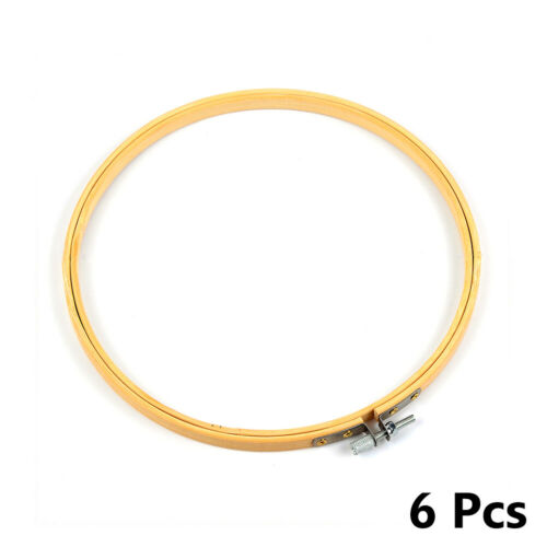 Embroidery Hoops Frame Set Bamboo Wooden Hoop Rings Home DIY Cross Stitch 6Pcs