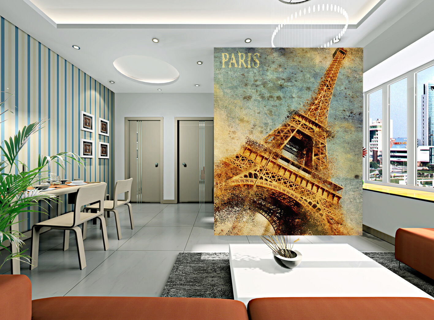 3D golden Effier Tower 724 Wall Paper Wall Print Decal Wall Deco Indoor Wall