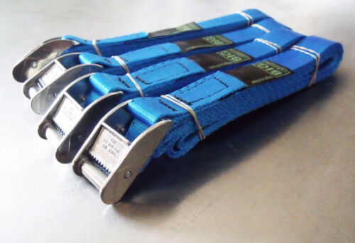 Trailer Van Tie-down Lashing Strap 4-pack of 3.0m TOUGH Cam Buckle Straps Blue