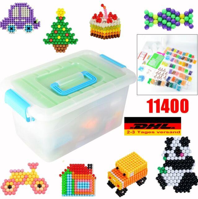 5200x Glitzerperlen Steckperlen Aqua Nachfüllbox Bügelperlen Steckplatten DHL
