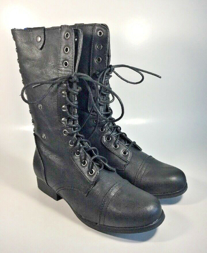 M2624 New Women's Madden Girl Tiara Black Lace Up Boot Size 7.5 M