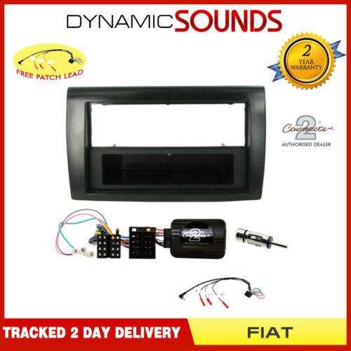 2007/> Single Car Stereo Fascia /& Stalk Fitting Kit Glossy Black For Fiat Bravo