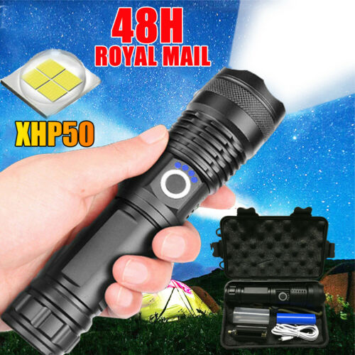 LED Torch Tactical Torches Super Bright Powerful 900000 Lumens Zoom Flashlight