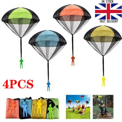 4Pcs Hand Throwing Mini Soldier Parachute Toy Kids Outdoor Game Play Educational