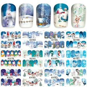 Nail-Art-Stickers-Transfers-Xmas-Christmas-Snowmen-Reindeer-Festive-Collection