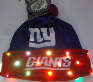 402ff48e1a1 New York Giants NAME NFL LED Light Up Hat Winter Pom Beanie Stocking ...