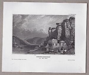 Herrnkretschen-Hirmkretschen-Hrensko-Elbe-Tschechien-Stich-Stahlstich-um-1850