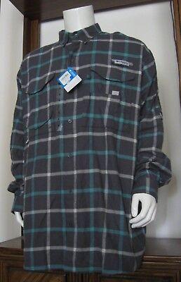 Columbia PFG Mens Large Super Bonehead Tan Plaid Long Sleeve Fishing Shirt