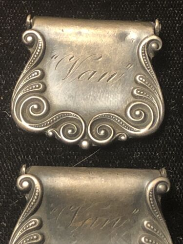 Pair Victorian Sterling Silver Suspender Clips Eng