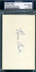 Norm-Cash-Psa-Dna-Autograph-3x5-Index-Card-Authentic-Hand-Signed