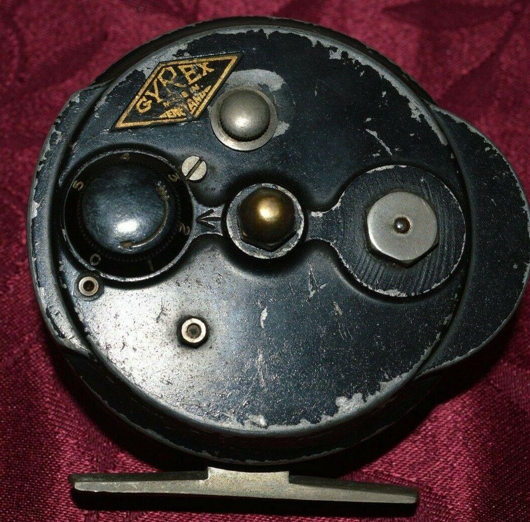 Vintage Gyrex centrepin reel de pesca con mosca cuerpo de aleación de bobina de 3 pulgadas