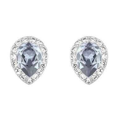 Swarovski Christie Pear Pierced Earrings Dark Blue crystal Authentic MIB 5113783
