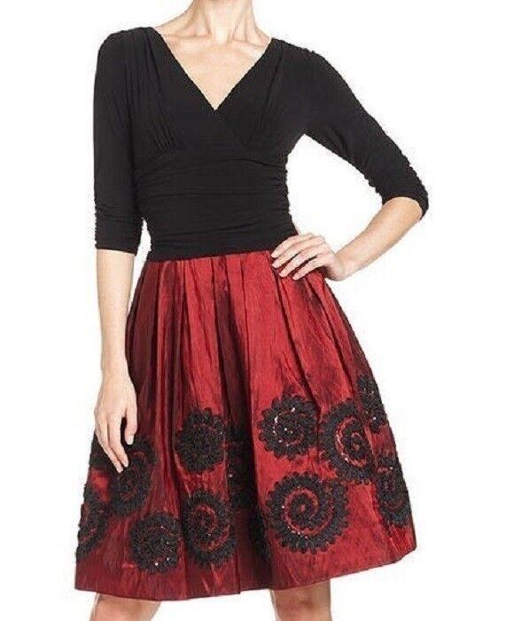 SL Fashions rot schwarz Embroiderot Taffeta Stretch Jersey ¾ Sleeve Dress -