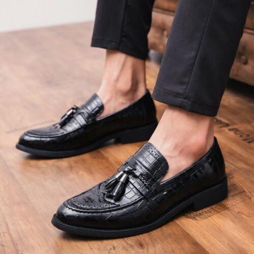 Details about  /Mens Pointy Toe Oxfords Slip on Casual British Dress Formal Faux Leather Shoes D