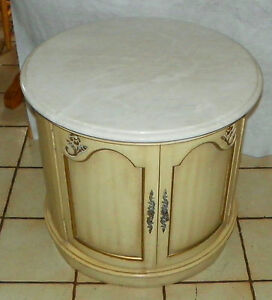 Mid Century Round Marble Top End Table Side Table by Weiman RP