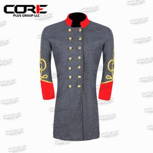 Civil War CSA Major Artillery 3 Row Braids Double Breast Wool Shell Jacket.