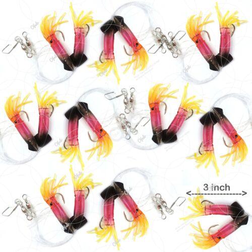 """10 PAIRES DE PÊCHE 3/"""" Morue de Roche Double Ampoule Calmars Rockfish Poisson Rig Octopus lures"""