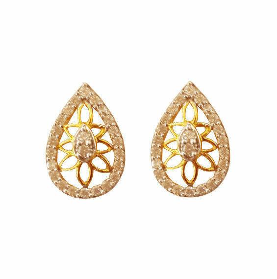 22Kt Solid Yellow gold Cubic Zirconia Pear Shape Handmade Stud Women Earrings