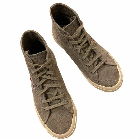 Superga High Top Suede Lace Up Sneakers, Size 7.5