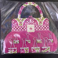 New Nip Vera Bradley Julep Tulip Binder Clips Office Supplies Pink Set Of 8