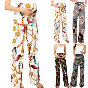 Women-Mom-Maternity-Casual-Straight-Wide-Leg-Pants-Print-Pregnancy-Long-Trousers