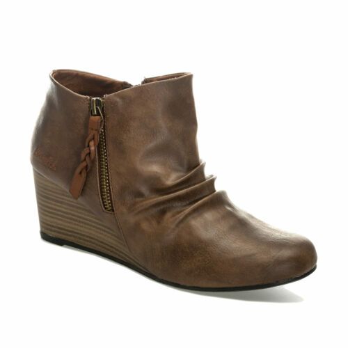 Womens Blowfish Balta Eastwood Wedge Boots In Whiskey Brown