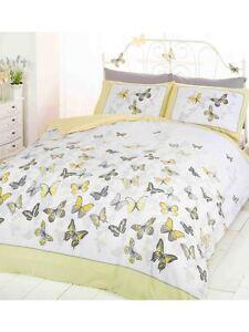 Papillon-Flutter-Citron-King-Taille-Housse-de-Couette-amp-Taie-Set-Literie-Jaune