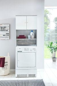 Waschmaschinen Schrank Mit 2 Türen Und Ablage Weiß Beton Anthrazit