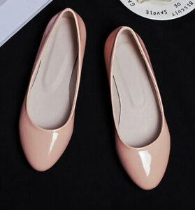 Cute-Shiny-Patent-leather-Flats-single-shoes-womens-super-plus-size-52-college