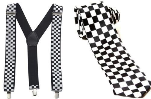 Police Unisexe 2PCS Set à Carreaux Cravate Et Bretelles Fancy Dress Party Costume