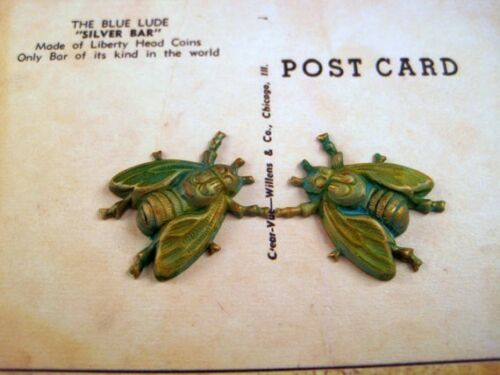 VPFF716 Jewelry Finding Small Verdigris Patina Brass Fly Stampings 2