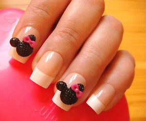 10 Cute 3d Mickey Mouse Pinkblack 3d Nail Art Decorations Ebay