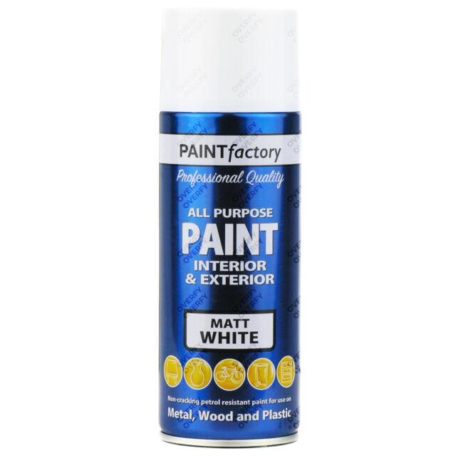 4 X 400ML Multiusos Blanco Mate Pintura en Aerosol Casa de Coche de Plástico