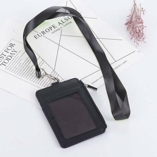 Lanyard ID Holder Wallet Badge Neck Strap Leather Credit Card Business Organizer