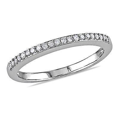 Size-8.25 1//10 cttw, G-H,I2-I3 3 Diamond Wedding Band in 10K White Gold