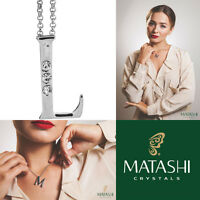 16 Rhodium Plated Necklace W/ l Initial & Crystals By Matashi on sale
