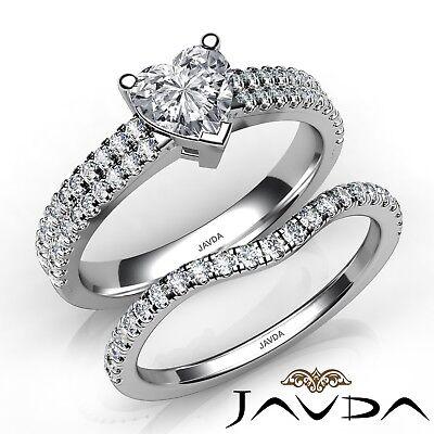 Dutiful 1.82ct Smerlato A Pavé Set Coppia Fedi Nuziali Cuore Diamond Fine Jewelry