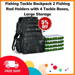 Fishing Tackle Backpack 2 Fishing Rod Holders with 4 Tackle Boxes, Large Storage