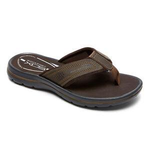 6ebfa50ad42d Details about ROCKPORT Men s Get Your Kicks GYKS Thong Flip Flops sandal  Coffee Brun V80420