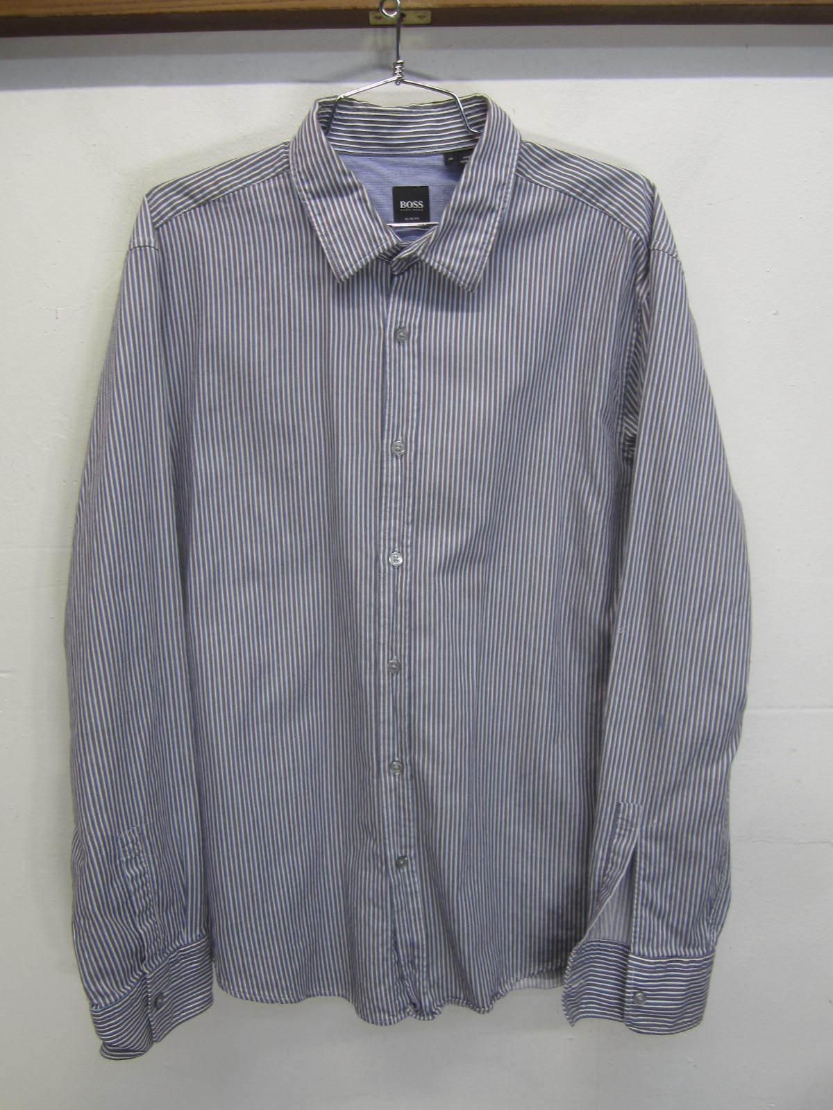 Hugo Boss Dress Shirt Slim Fit purple striped 100% cotton sz XL
