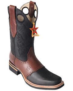Los Altos BLACK Square Toe Western Rodeo Cowboy Boots Genuine Leather EE+