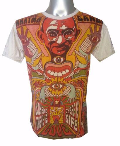 Men Shirt short sleeve cotton Om Retro India Hippie Gandhi Mahatma Peace M Sure