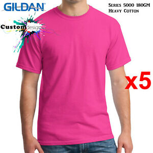5-Packs-Gildan-Heliconia-T-SHIRT-Basic-Tee-S-5XL-Men-Heavy-Cotton