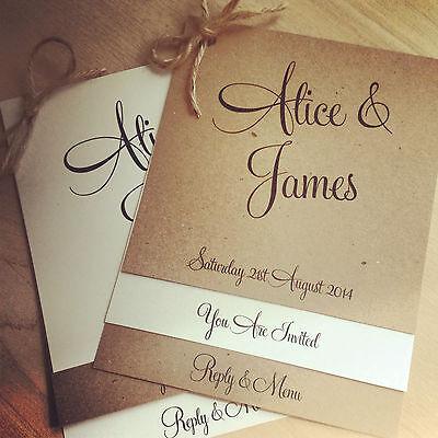 1 vintage/shabby chic 'Alice' Wedding Invitation with RSVP & optional menu