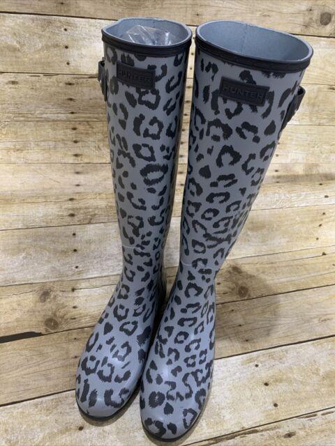 NIB Hunter Refined Hybrid Print Thicket Leopard Ankle Biker Rain Boot Mult Sz