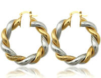 Two-tone Twist Round Silver Gold Plated Shiny & Ribbed Hoop Dangle Drop Earrings