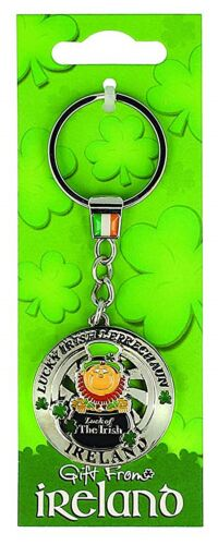 sg Lucky Irish Leprechaun in Pot of Gold  Spinner Metal Keyring