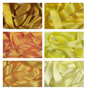 Double-Satin-Ribbon-Berisfords-Lemon-amp-Yellow-Shades-Short-lengths-or-Full-Reels