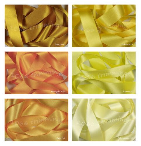 Double Satin Ribbon Berisfords Lemon and Yellow Shades
