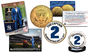DEREK-JETER-Set-w-TOPPS-NOW-Monument-Trading-Card-amp-Gold-JFK-NY-Yankee-2-Coin